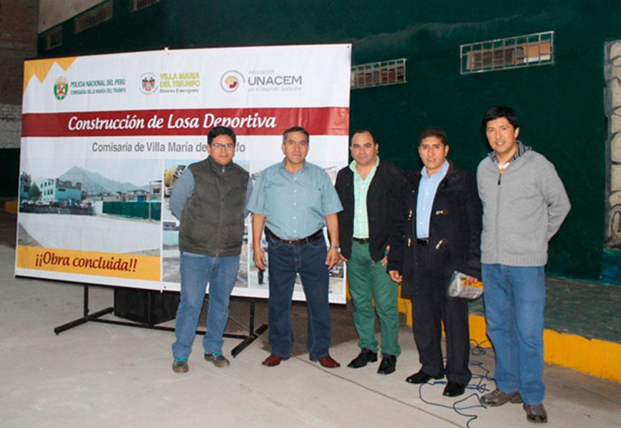 Municipalidad de Villa María del Triunfo y UNACEM construyen losa deportiva en comisaría del distrito