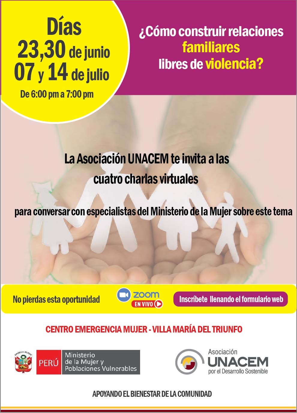 Invitación a charla virtual ¿Cómo construir relaciones familiares libres de violencia?