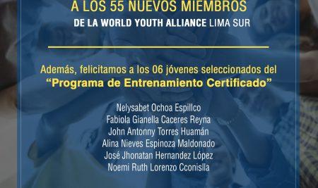 """Felicitamos a los nuevos miembros de la World Youth Alliance de Lima Sur, así como los 06 jóvenes seleccionados del """"Programa de Entrenamiento Certificado"""